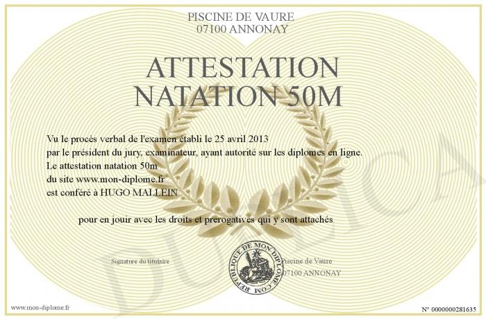 attestation natation 50m