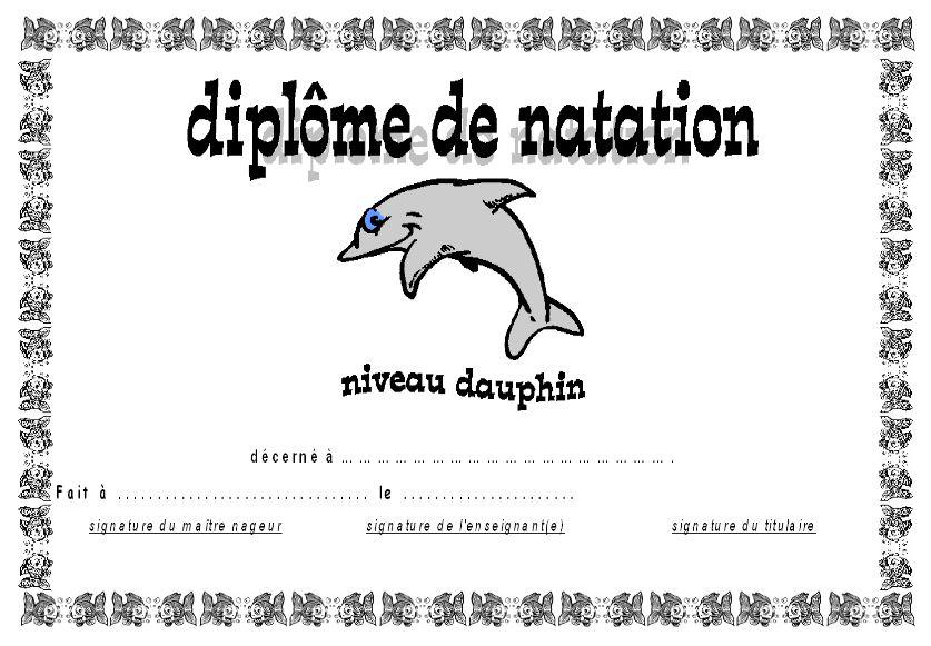 diplome natation