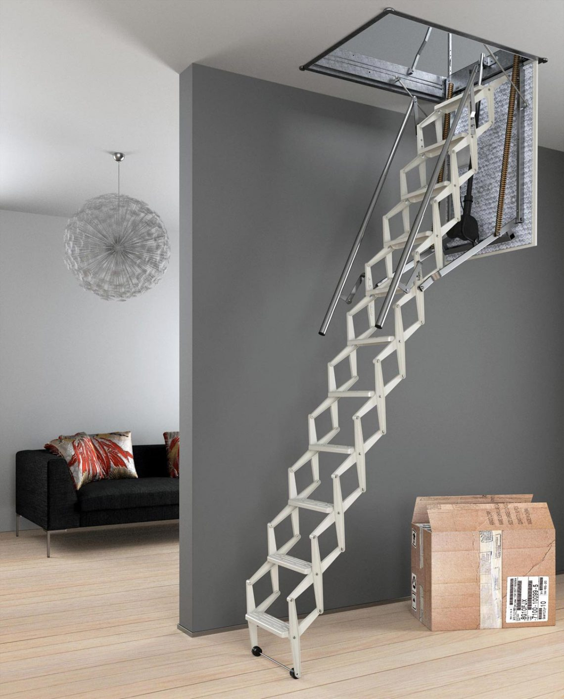 comment installer un escalier escamotable. Black Bedroom Furniture Sets. Home Design Ideas
